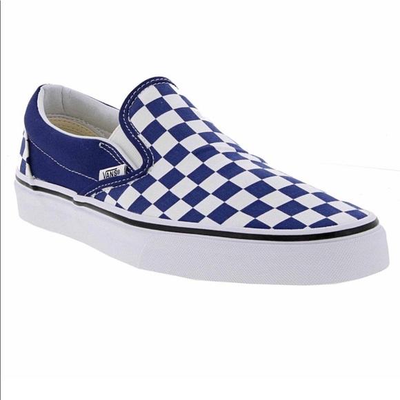 Vans Shoes | Vans Blue Checkered Slip
